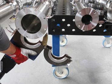 Orbitalum Orbimat 180 SW schweißt Edelstahl-Ventilknoten für Getränkeindustrie